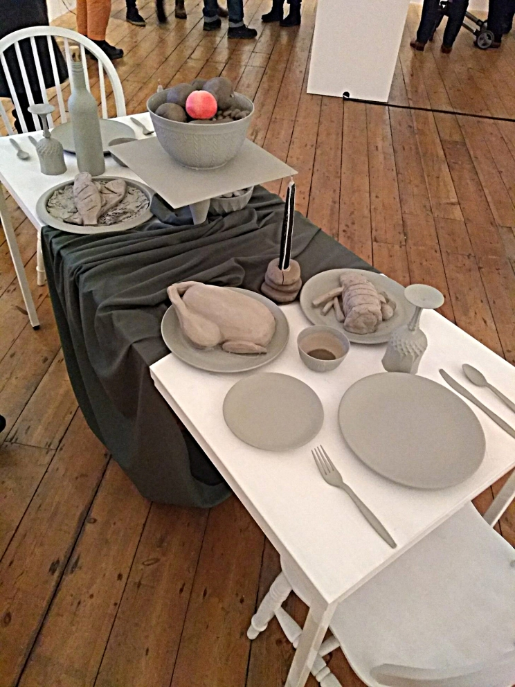 Mixed media: Clay, Acrylic Paint, Furniture, Items for table.
